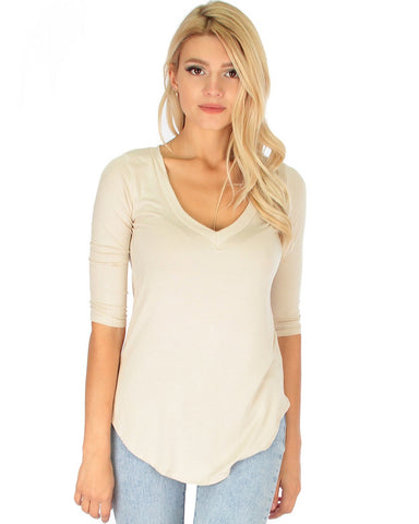 Truly Madly Deep-V Neck 3/4 Sleeve Ivory Tunic Top