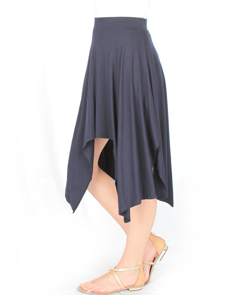 Breeze Away Raw Edge Navy Skirt