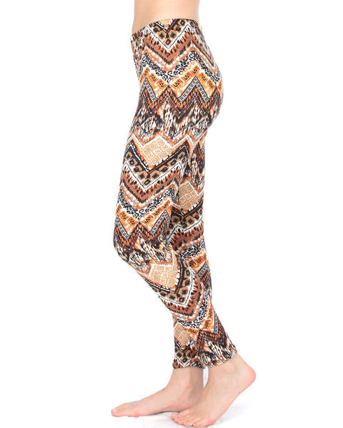 Get Into Summer Brown Chevron Patterned Leggings