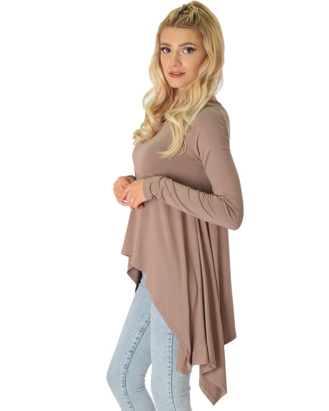 Shift and Swing Long Sleeve Taupe Tunic Top