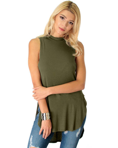 Flirting With Danger Olive Ribbed Cut-Out Top
