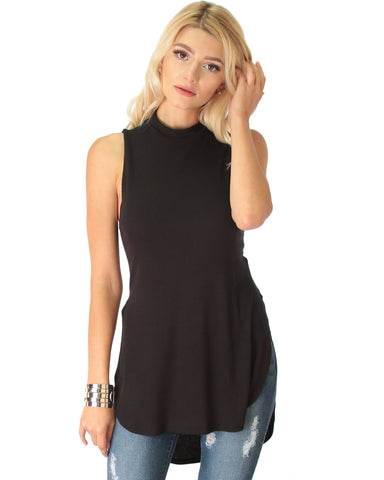 Flirting With Danger Black Ribbed Cut-Out Top