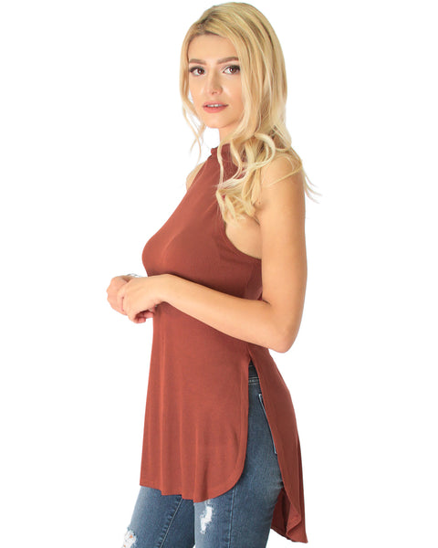 Flirting With Danger Marsala Ribbed Cut-Out Top