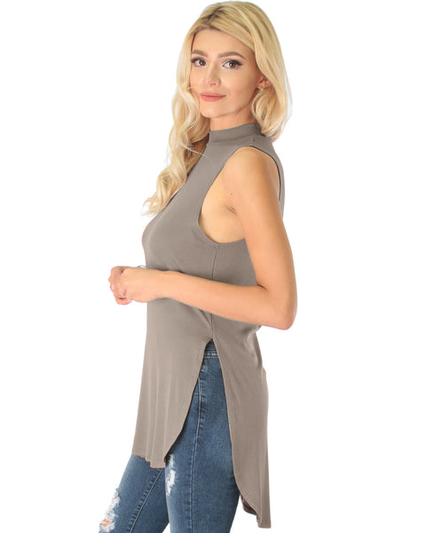 Flirting With Danger Taupe Ribbed Cut-Out Top
