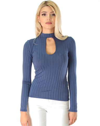 Glamorous Ribbed Blue Long Sleeve Cut-Out Top