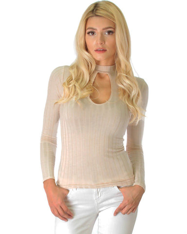 Glamorous Ribbed Taupe Long Sleeve Cut-Out Top