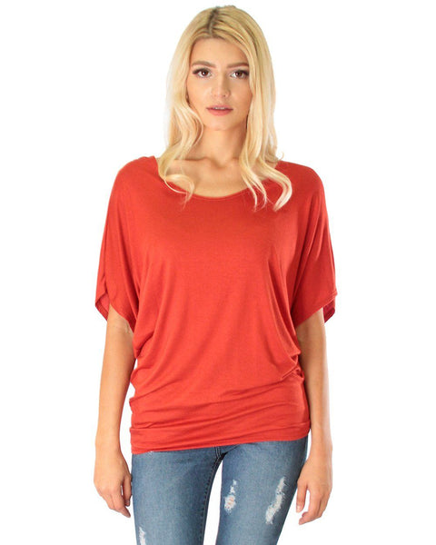 Contemporary Dolman Rust Tunic Top
