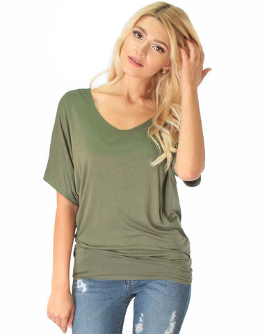 Contemporary Dolman Olive Tunic Top