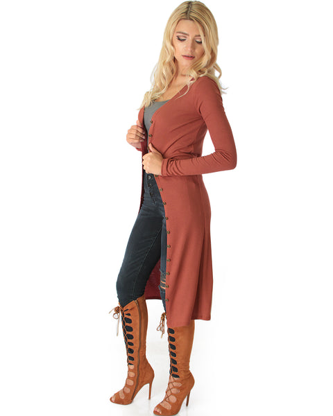 Versatile Long Button-Up Ribbed Marsala Cardigan Dress