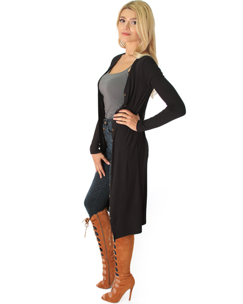 Versatile Long Button-Up Ribbed Black Cardigan Dress