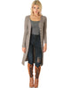 Versatile Long Button-Up Ribbed Taupe Cardigan Dress - Main Image