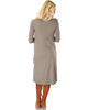 Versatile Long Button-Up Ribbed Taupe Cardigan Dress - Back Image