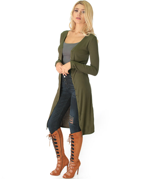 Versatile Long Button-Up Ribbed Olive Cardigan Dress