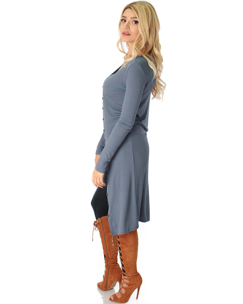Versatile Long Button-Up Ribbed Grey Cardigan Dress