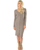 Versatile Long Button-Up Ribbed Taupe Cardigan Dress - Full Image