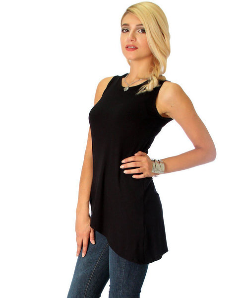 Assymetrical Ribbed Black Tank Top