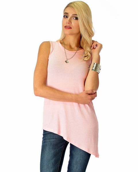 Assymetrical Ribbed Pink Tank Top