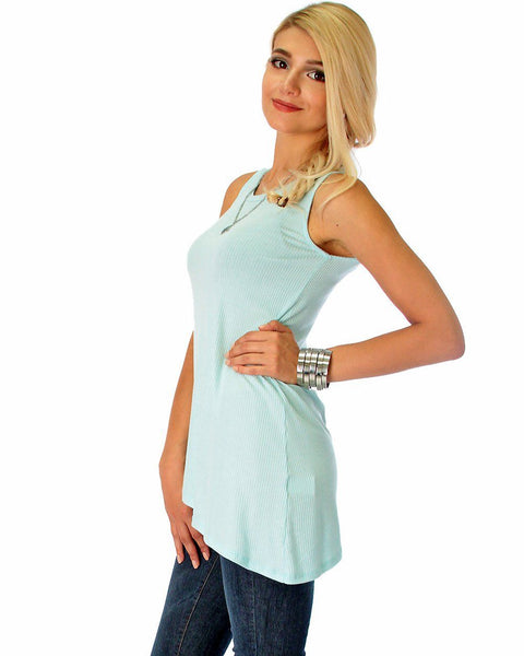 Assymetrical Ribbed Aqua Tank Top
