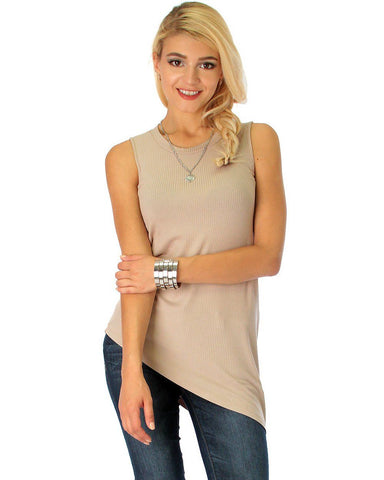 Assymetrical Ribbed Taupe Tank Top