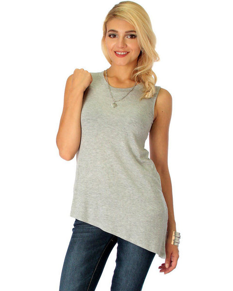Assymetrical Ribbed Grey Tank Top