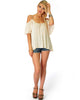 Sweet Escape Ivory Open Shoulder Top - Full Image
