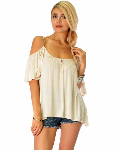 Sweet Escape Ivory Open Shoulder Top