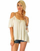 Sweet Escape Ivory Open Shoulder Top - Main Image