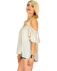 Sweet Escape Ivory Open Shoulder Top - Side Image