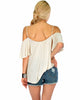 Sweet Escape Ivory Open Shoulder Top - Back Image