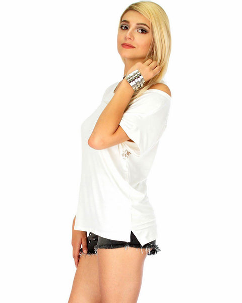 Check Out My Lace Accents Ivory Tunic Top
