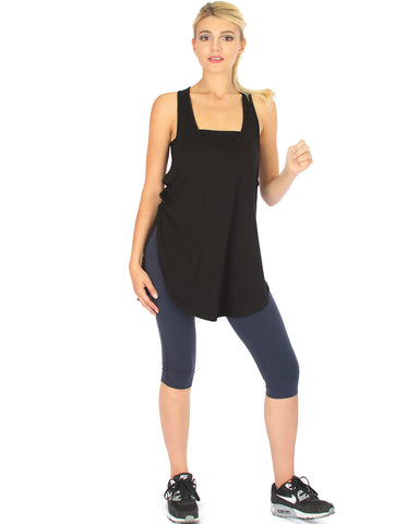 When the Wind Blows Racer-Back Black Tank Top