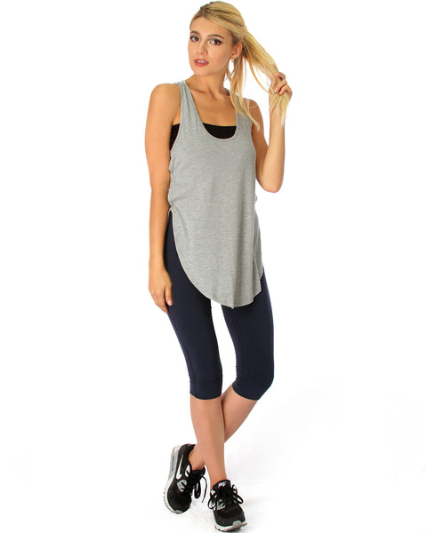 When the Wind Blows Racer-Back Grey Tank Top