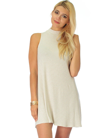 Olivia Tank Striped Taupe Shift Dress