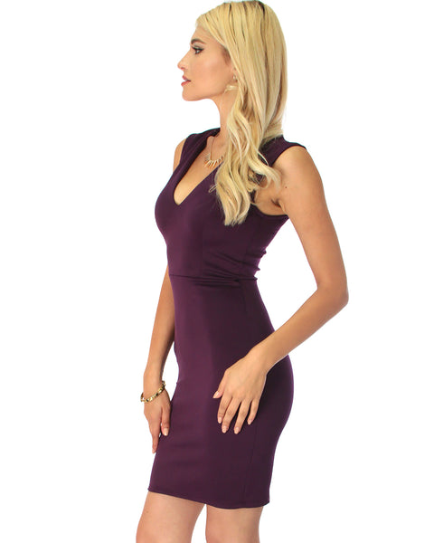 Cocktail Hour V-Neck Purple Bodycon Dress