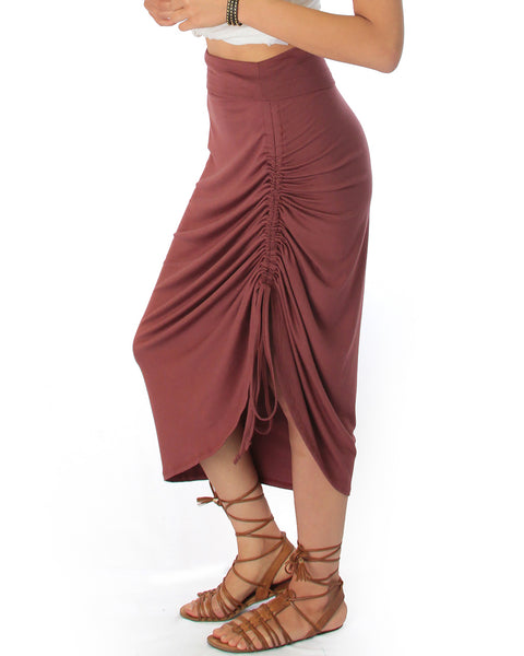 Tie That Knot Fold Over Marsala Maxi Skirt