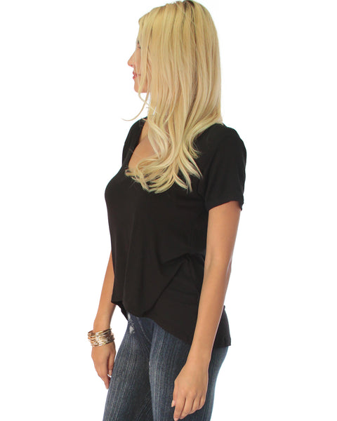 Open Back Black Tunic Top