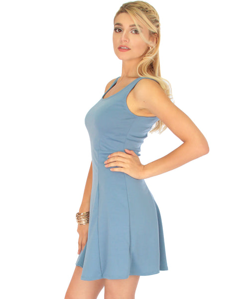 Flare Grounds Blue Skater Dress