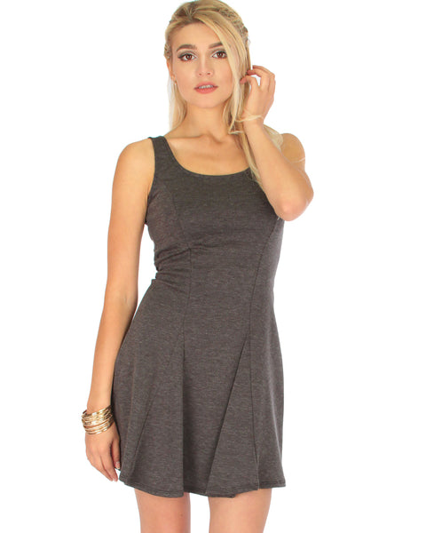 Flare Grounds Charcoal Skater Dress