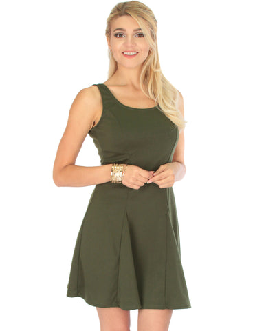 Flare Grounds Olive Skater Dress
