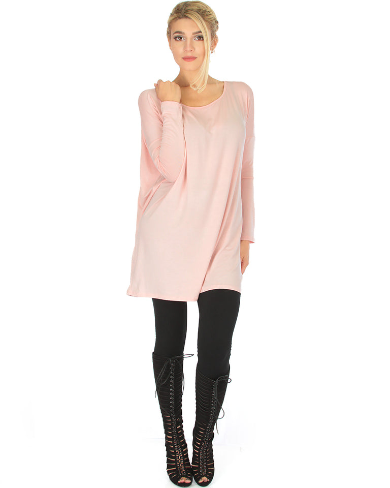 20062a954b2 Lyss Loo Better Together Over-Sized Long Sleeve Pink Tunic Top