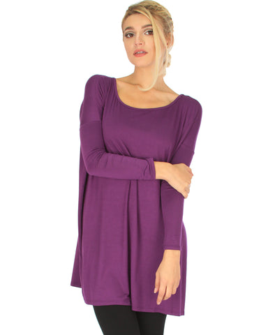 Better Together Over-Sized Long Sleeve Purple Tunic Top