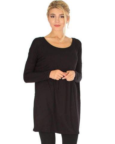 Better Together Over-Sized Long Sleeve Black Tunic Top