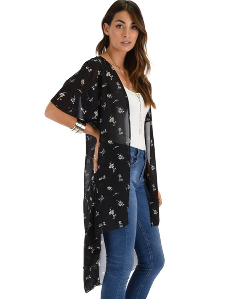 Breath of Life Floral Black Kimono Cardigan Top