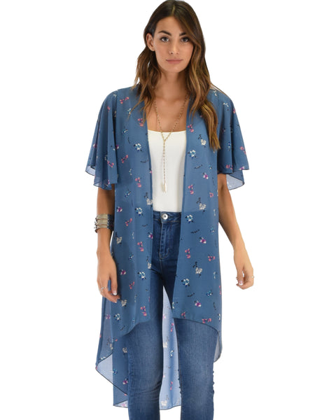 Breath of Life Floral Blue Kimono Cardigan Top