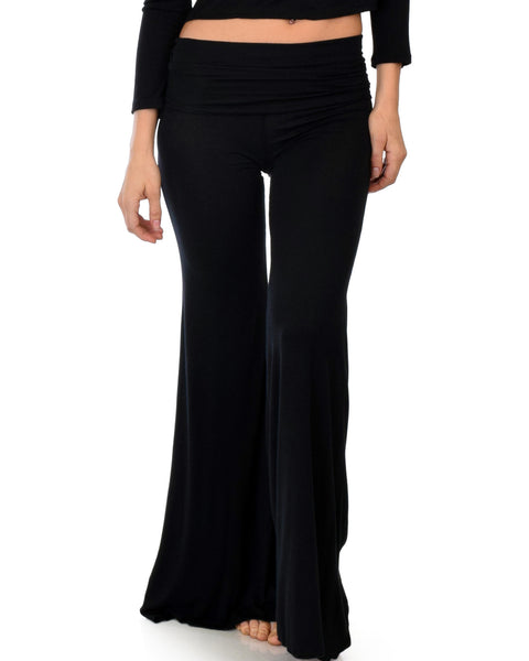 Fold-Over Palazzo Black Flare Pants