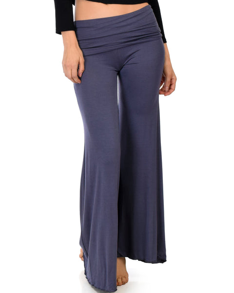 Fold-Over Palazzo Charcoal Flare Pants