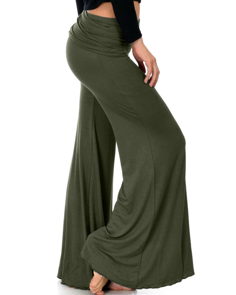 Fold-Over Palazzo Olive Flare Pants