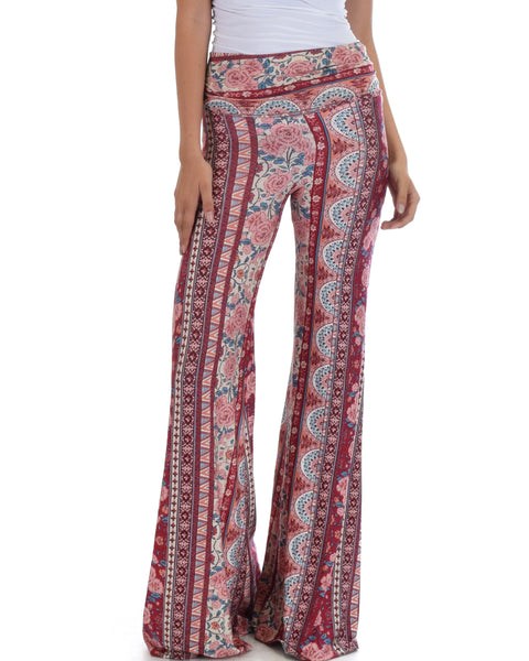 Lyss Loo Soft & Cozy Burgundy Paisley Fold Over Flare Pants