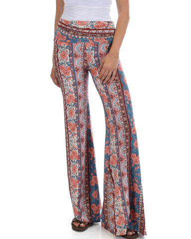 Lyss Loo Soft & Cozy Teal Paisley Fold Over Flare Pants