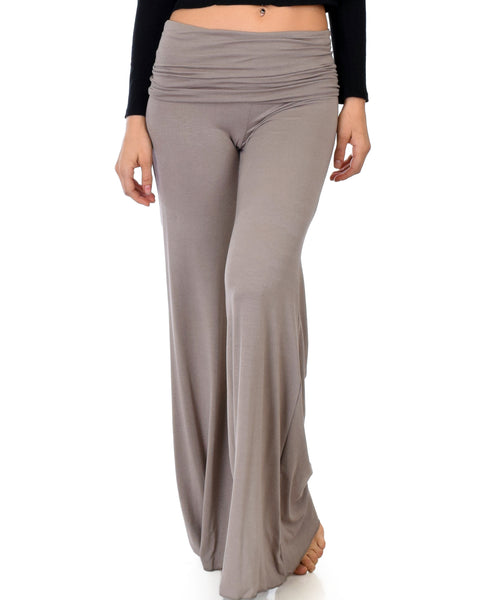 Fold-Over Palazzo Taupe Flare Pants
